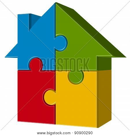 Puzzle House With Four Parts
