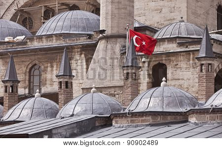 Flag On Konya Building In Turkey