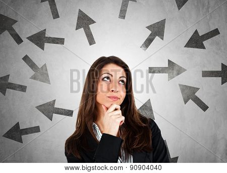 Woman trying to choose the right path