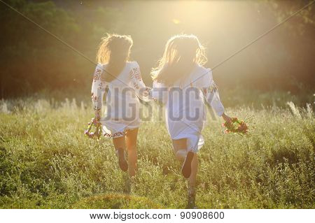 two girls in the national Ukrainian clothes with wreaths of flowers in their hands running over the grass poster