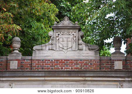Lintel of Harvard University, Cambridge, USA