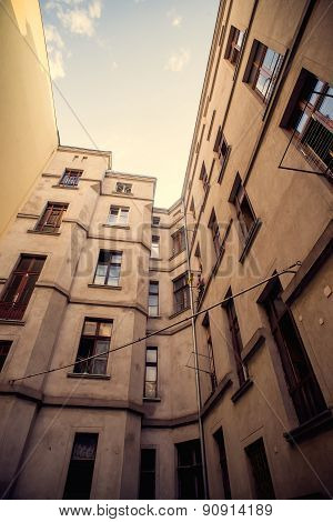 Facade of an old apartments building
