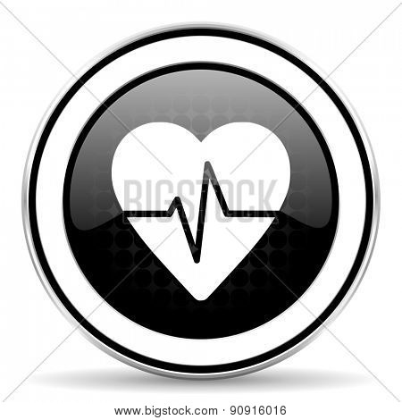 pulse icon, black chrome button, heart rate sign