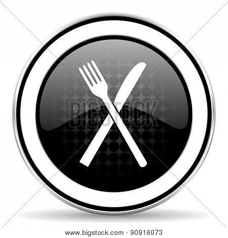 eat icon, black chrome button, restaurant symbo l