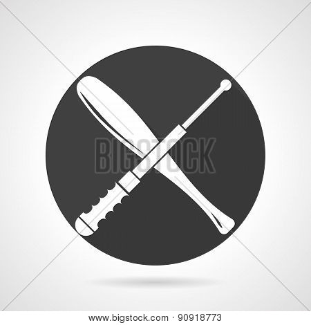 Stick and baton black round vector icon