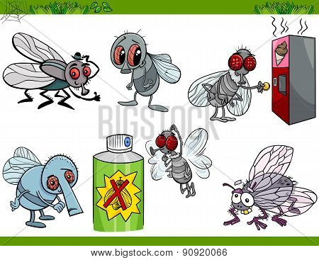 Funny Flies Set Cartoon Illustration