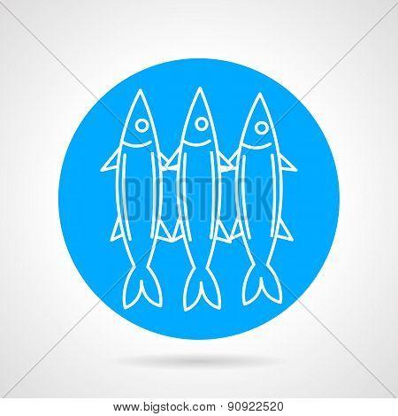 Sea fish blue round vector icon