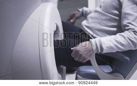 Patient Leg In Fully Open Mri Cat Scanner