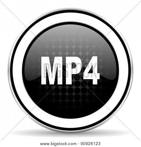 mp4 icon, black chrome button