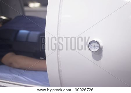 Female Patient In Oxygen Hyperbaric Chamber Hbot