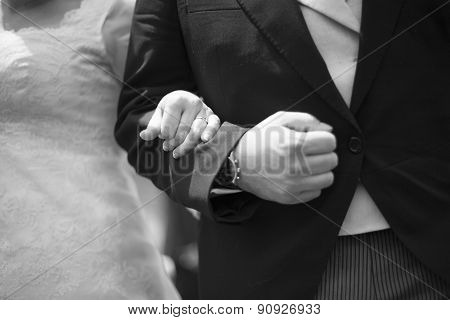 Bride And Bridegroom In Wedding Marriage Holding Hands