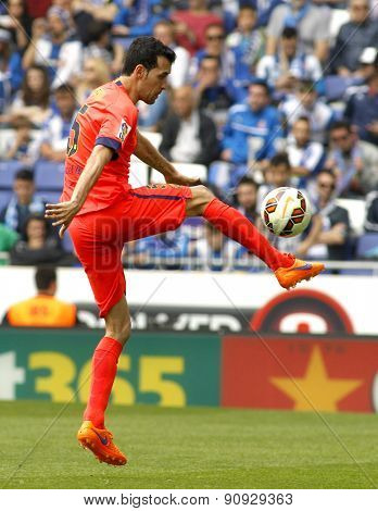 BARCELONA - APRIL, 25: Sergio Busquets of FC Barcelona during a Spanish League match against RCD Espanyol at the Power8 stadium on April 25, 2015 in Barcelona, Spain