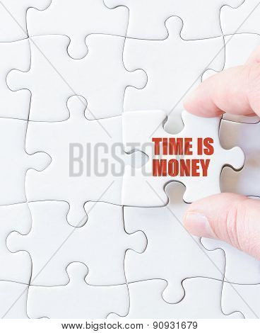 Puzzle Piece With Words  Time Is Money