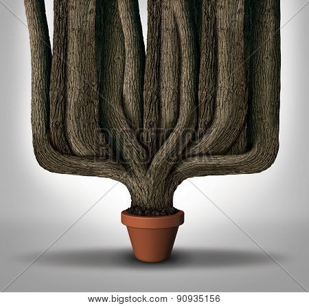 Exceed expectations business concept or maximum potential and outperform metaphor as a small flower pot with a giant expanding tree trunks growing with limited resources. poster