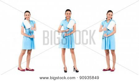 Asian hotel maid or cleaning lady, compositing of three scenes, isolated on white background