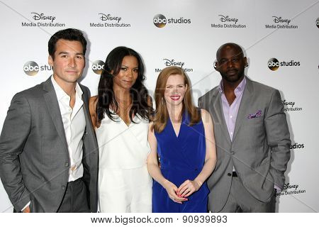 LOS ANGELES - MAY 17:  Jay Hayden, Rose Rollins, Mireille Enos, Alimi Ballard at the ABC International Upfronts 2015 at the Disney Studios on May 17, 2015 in Burbank, CA