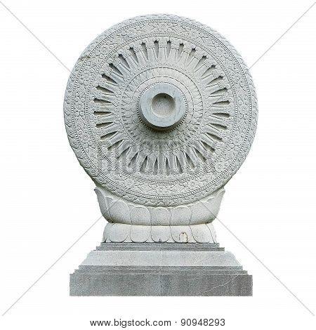 Adhering a symbol of Buddhism.