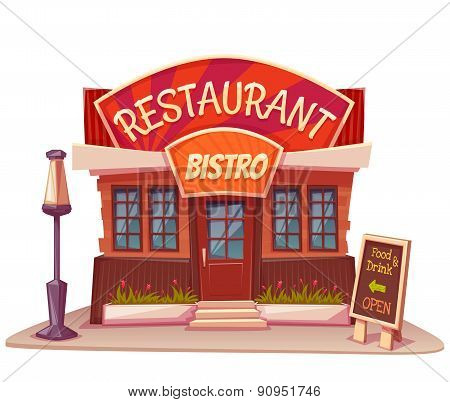 Vector illustration of restaurant and bistro building with bright banner