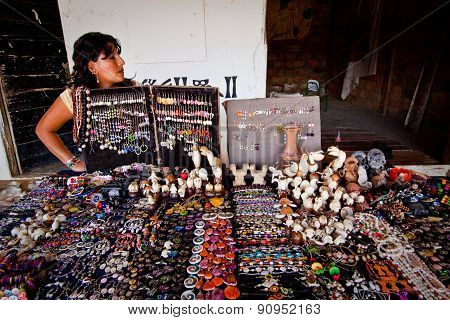 Handcraft market stall in Agua Blanca Museum, Machalilla National Park, Ecuador