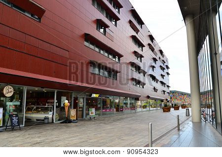 Almere, Netherlands - May 5, 2015: People Visit Modern City Center Of Almere, Flevoland