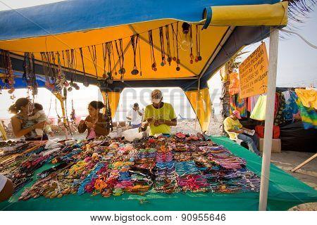 Market stall in Pedernales beach, Manabi, Ecuador