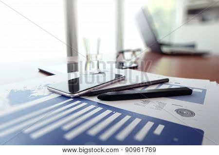 Business Documents On Office Table With Smart Phone And Digital Tablet Aas Work Space Business Conce