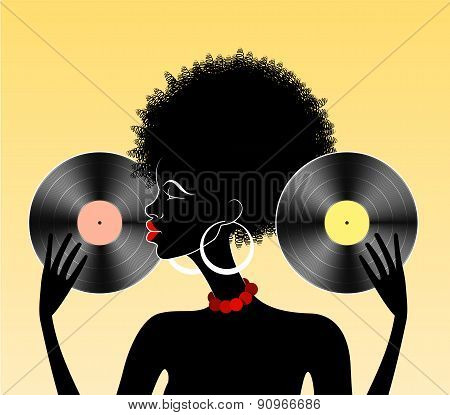 African Girl With Vinyl