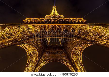Paris - MAR 14: Eiffel Tower illumination Show on March 14, 2015. Eiffel Tower is the highest monument in France use 20,000 light bulbs in the show.