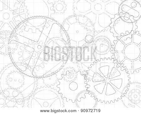 Black and white grungy gear wheels and cogs engineering blueprint background poster