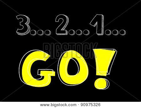 Countdown: 3 2 1 go! Hand drawn yellow vector sign