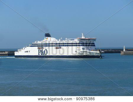 Ferry entering Dover, England