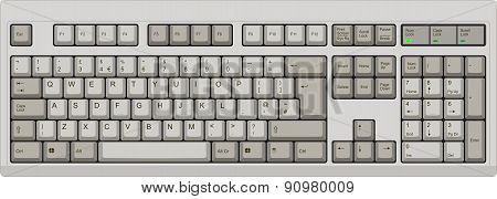 English Qwerty Uk Computer Grey Keyboard