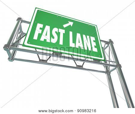 Fast Lane words on a green freeway road sign to illustrate speedy service or expedited delivery