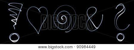 Set Of Different Flourescent Symbols In White Neon Color