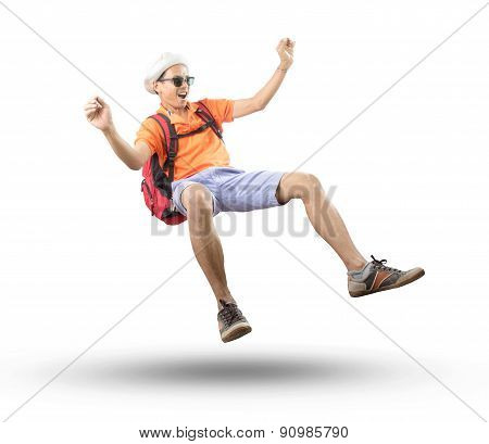 Portrait Of Young Asian Traveler Man Floating Mid Air With Crazy Acting Isolated White Background Us