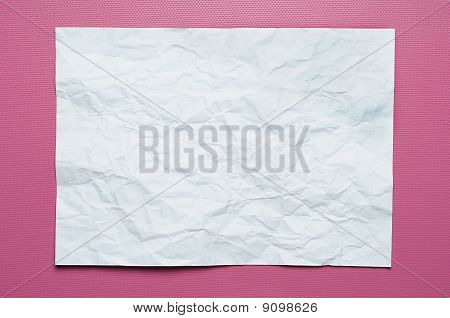 Wrinkled White paper attach on pink Board
