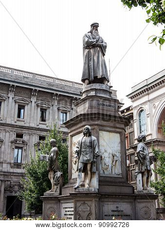 Leonardo Da Vinci's Statue At Piazza Della Scala, Milan, Italy