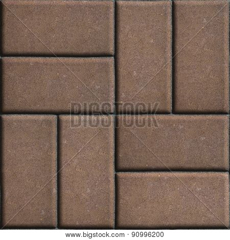 Brown Paving Slabs of Rectangles Laid Out on Two Pieces Perpendicular to Each Other.