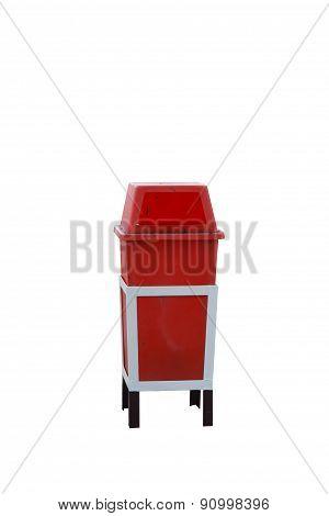 Bin Red On White Background