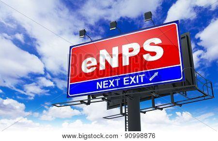eNPS  - Red Billboard on Sky Background.