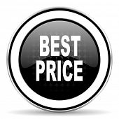 best price icon, black chrome button  poster
