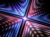 Quantum mechanics particle with wave attribution computer generated abstract fractal background poster