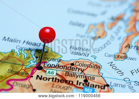 Londonderry pinned on a map of Northern Ireland