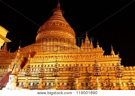 Shwezigon , old Buddhist temples and pagodas in Bagan, Myanmar