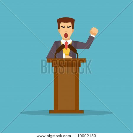 The Speaker Stands Behind The Podium. Vector Illustration