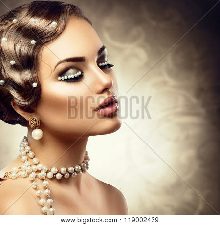 Retro Styled Makeup With Pearls. Beautiful Young Woman Portrait with pearl jewellery, earrings, necklace and make up. Romantic lady face closeup. Old Fashioned Makeup and Finger Wave Hairstyle
