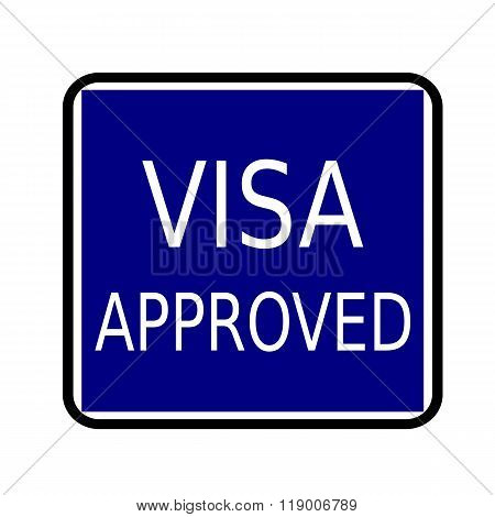Visa Approved White Stamp Text On Buleblack Background