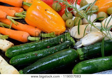Vegetables On A Roasting Tray