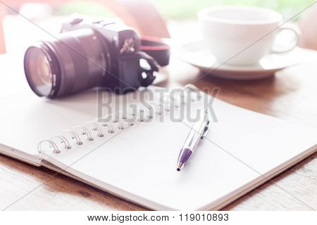 Open Blank White Notebook And Pen With Cup Of Coffee