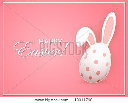 Easter Egg With Rabbit Ears On Pink Background